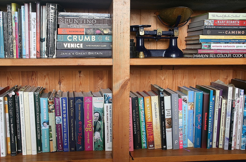 Cookbooks straight on adjusted small